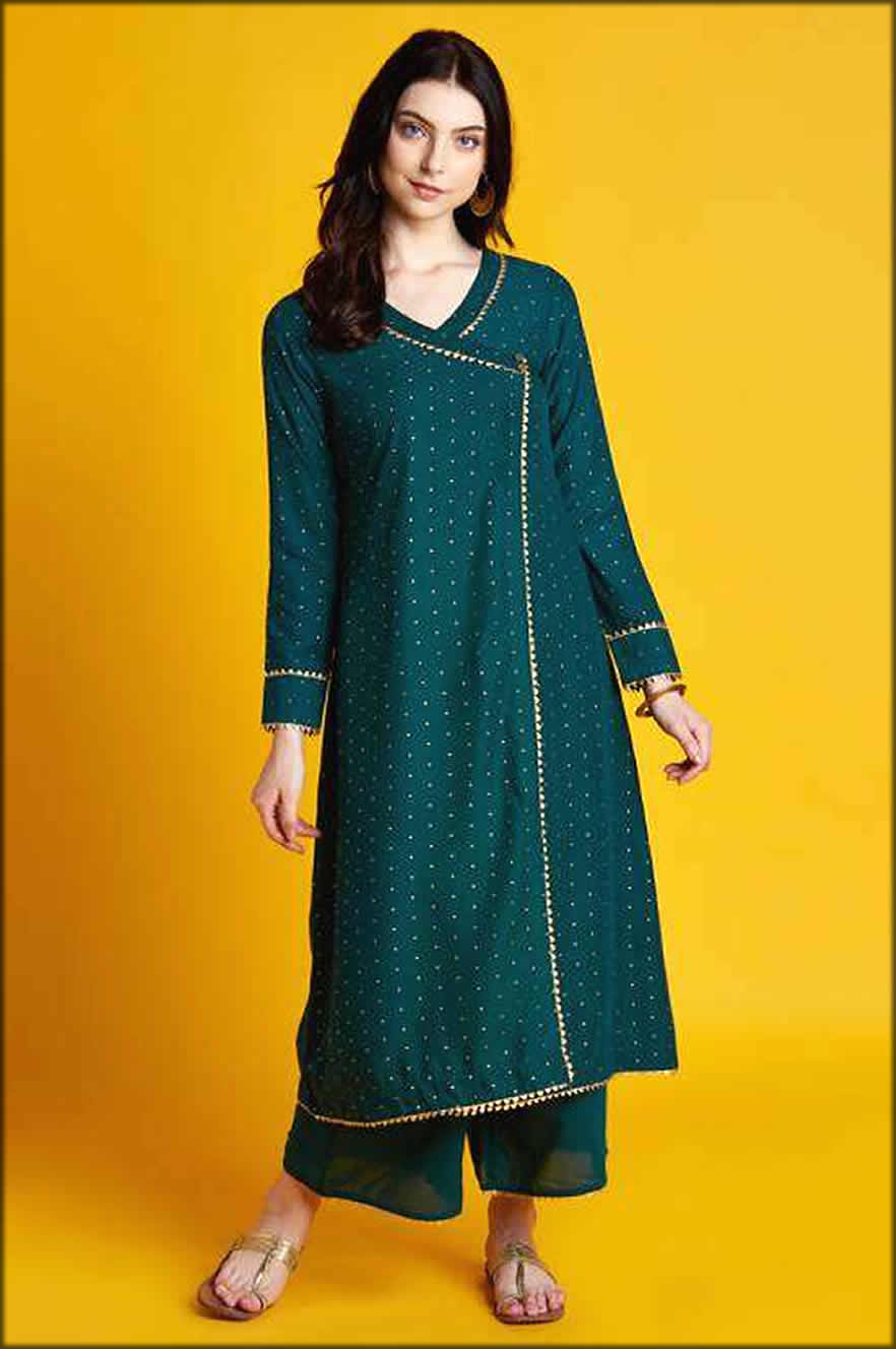 Angarkha Style Kurti In Green Foil Printed With Full Sleeves And Palazzo