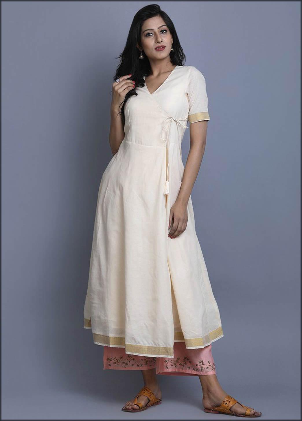 Angrakha Kurta In White Colour