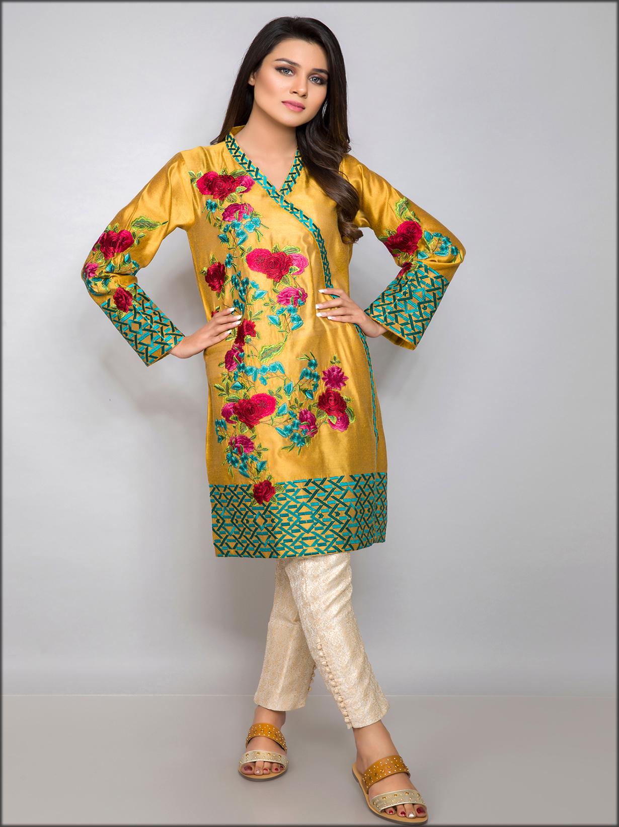 Angrakha Shirt In Cotton Net Golden Colour