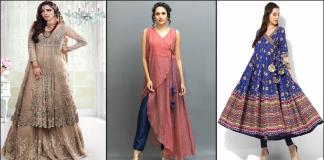 Angrakha Style Dresses 2021 - Angrakha Frocks and Kurta Designs