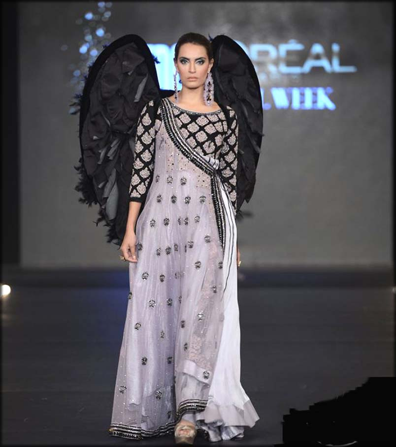 Black And Silver Gray Andrakha Gown