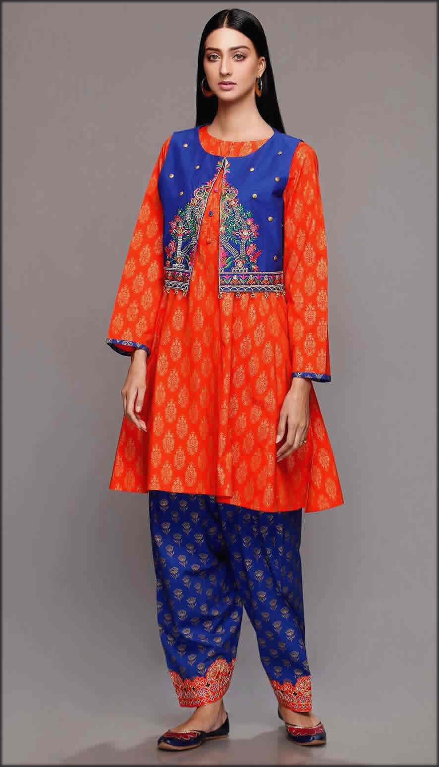 Blue Peacock Orange Frock And Koti Rang Ja Summer Collection