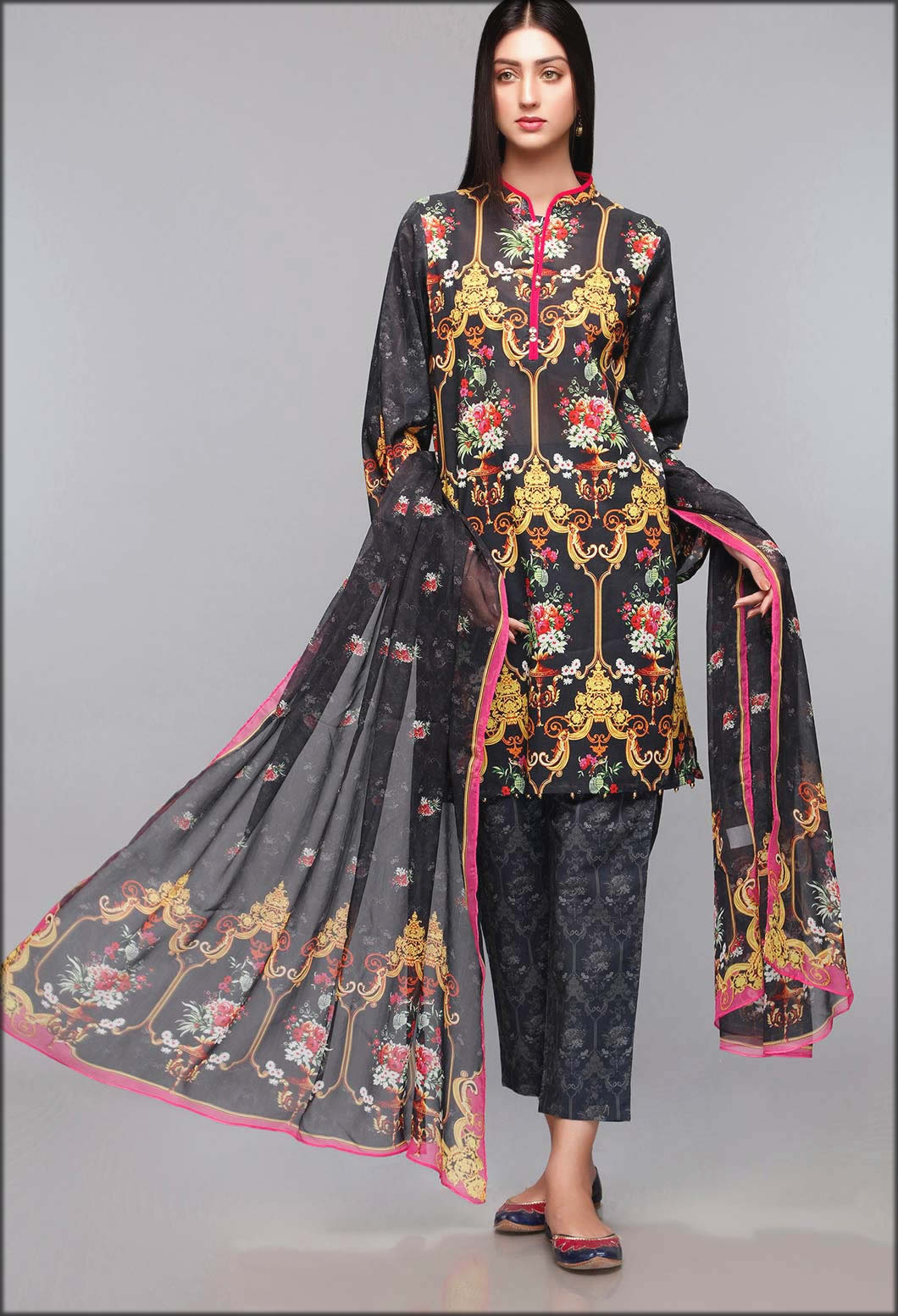 Brocade Floral Lawn Three piece Suit Rang Ja Summer Collection