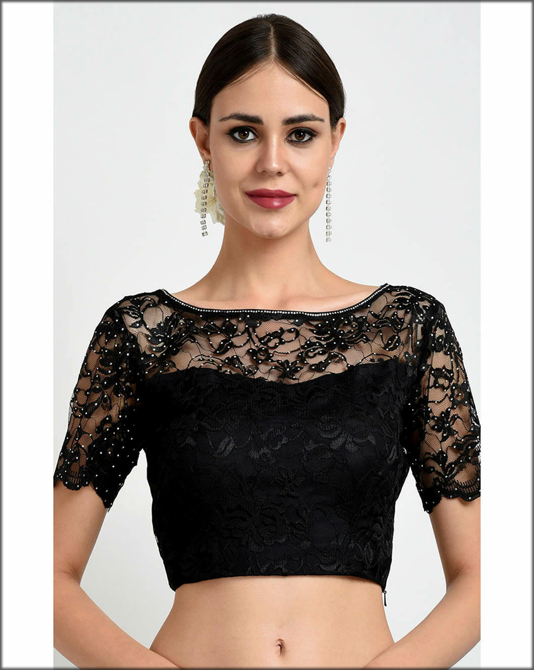 Embroidered Black Lace Indian Women Blouses Collection