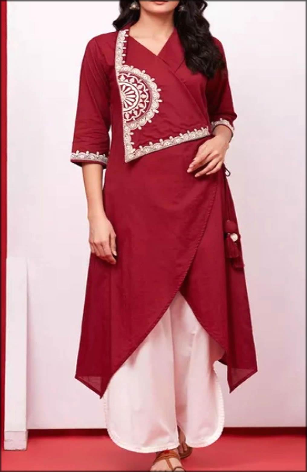 Embroidery Beautiful Cotton Angrakha kurti