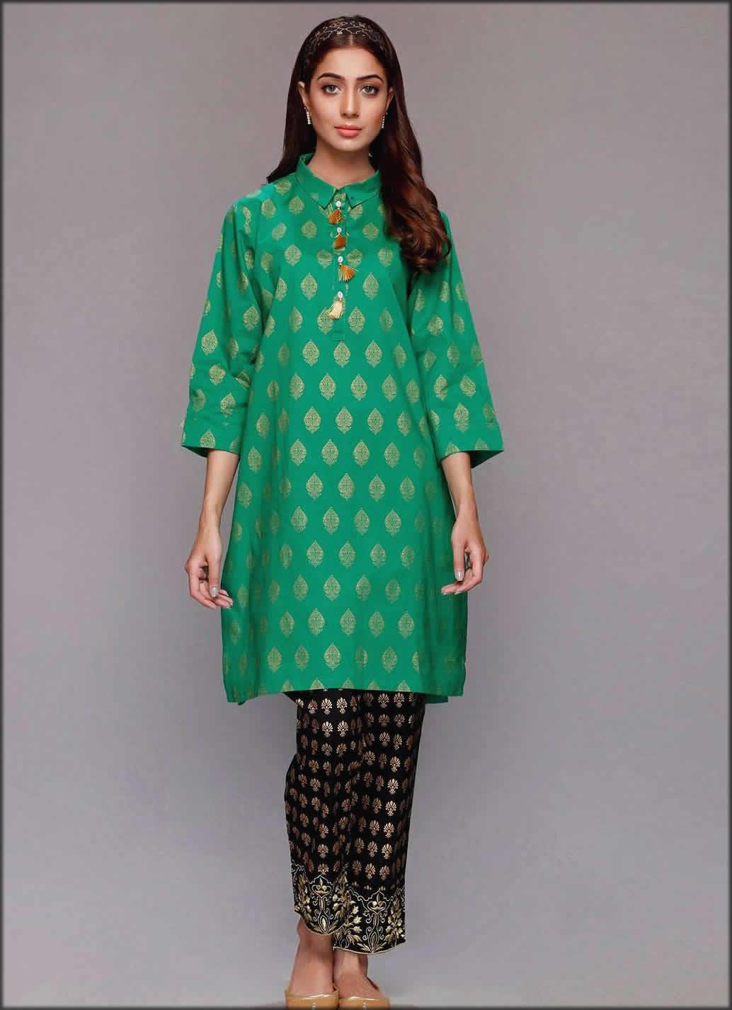 Green Printed Cambric Shirt Rang Ja Summer Collection