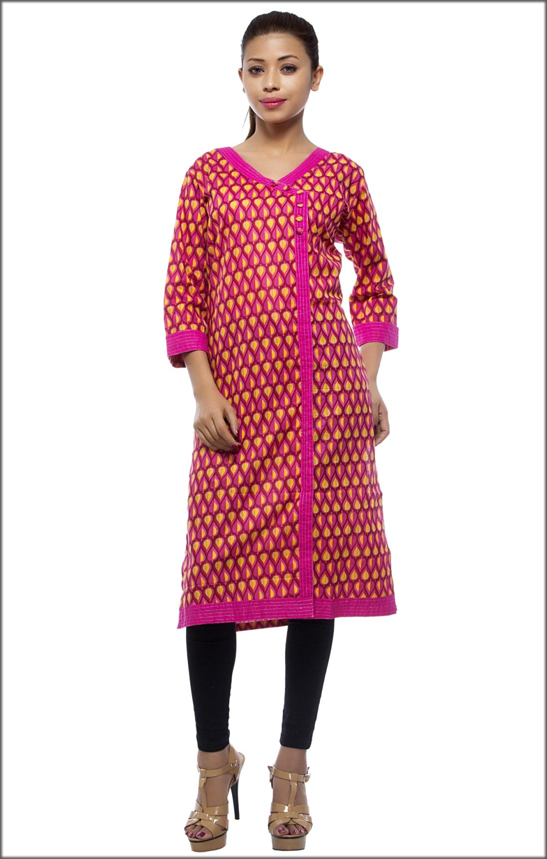 Knee Length Reina Cotton Angrakha Style Kurti