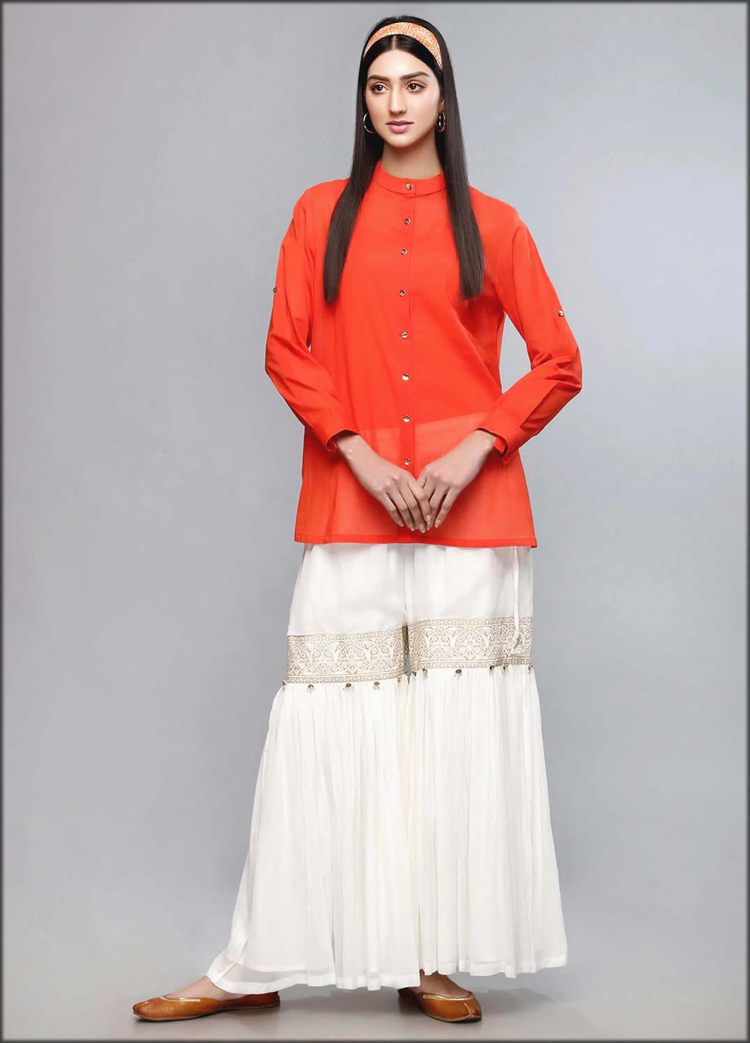 Orange Lawn Print Remix Shirt Rang Ja Summer Collection