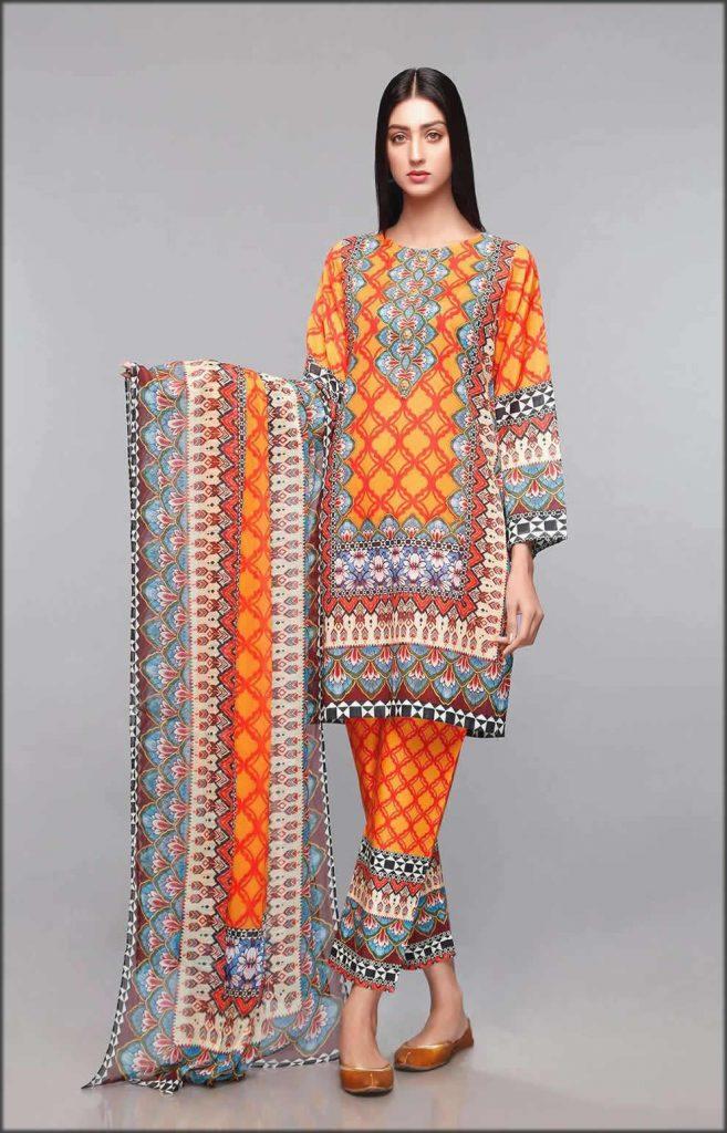 Orange Tribal Lawn Three Piece Suit