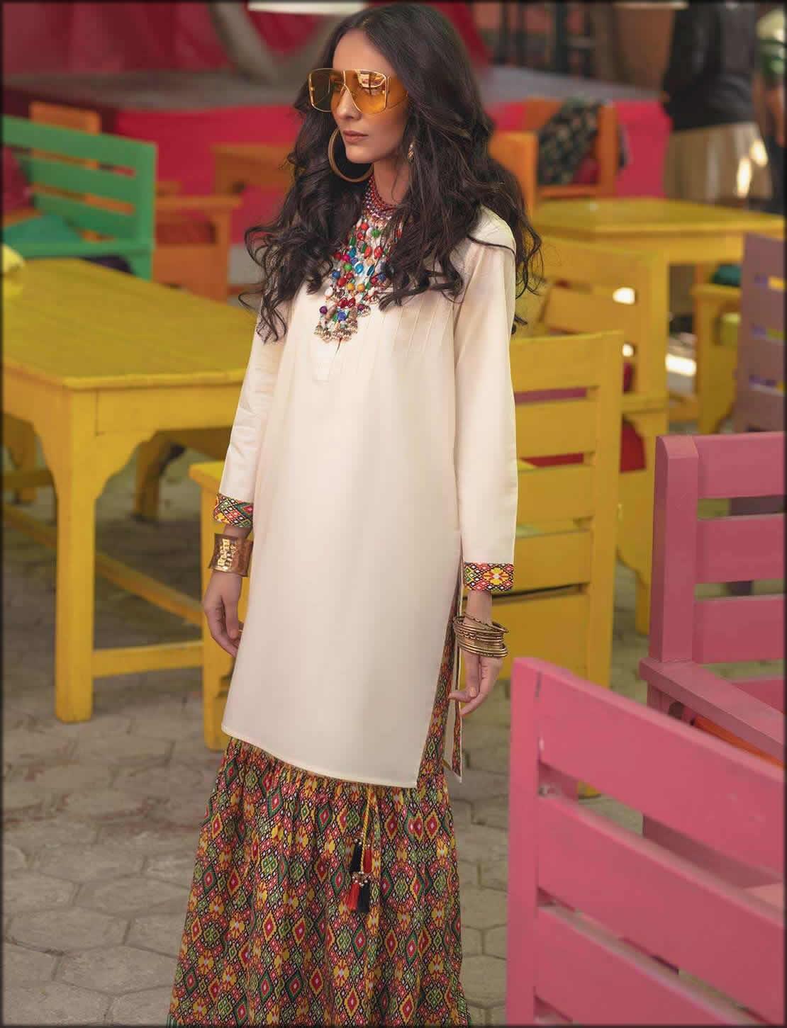 Rang Ja Summer Collection Printed Cambric Shirt And Gharara