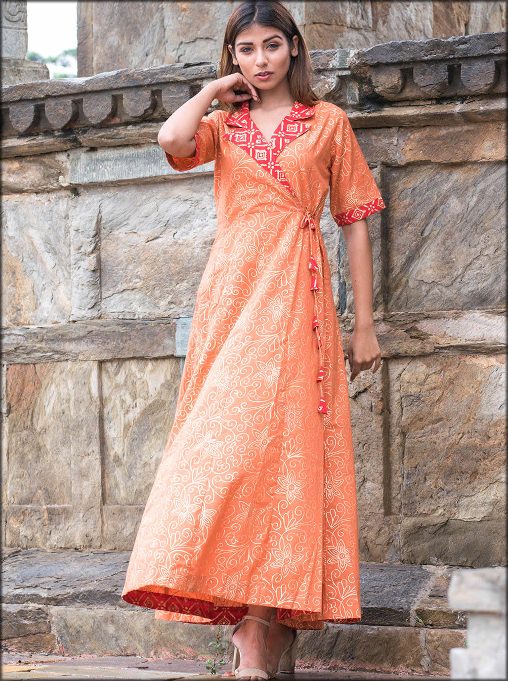 Printed Cotton Gown In A