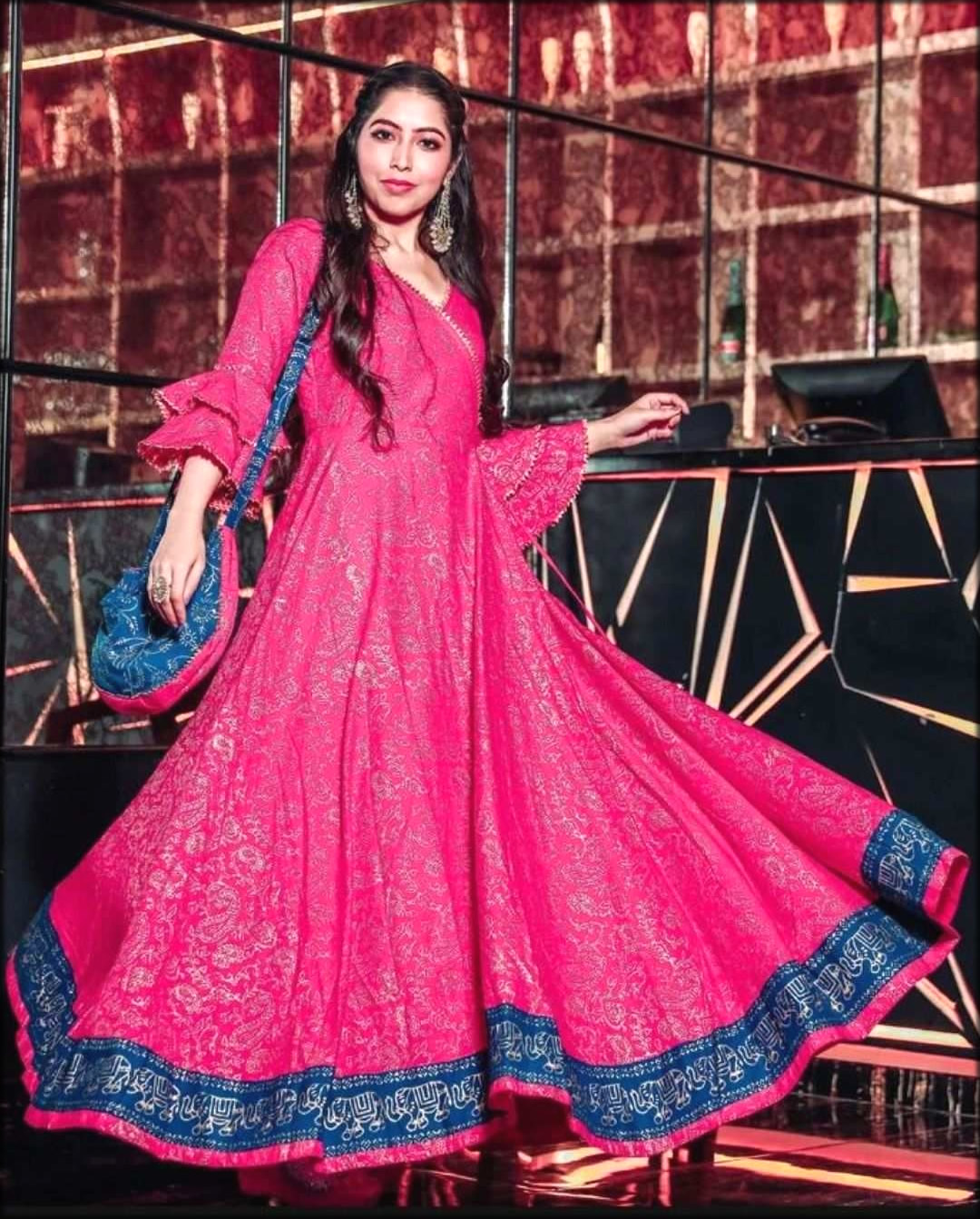 Shocking pink Angrakha Style Gown