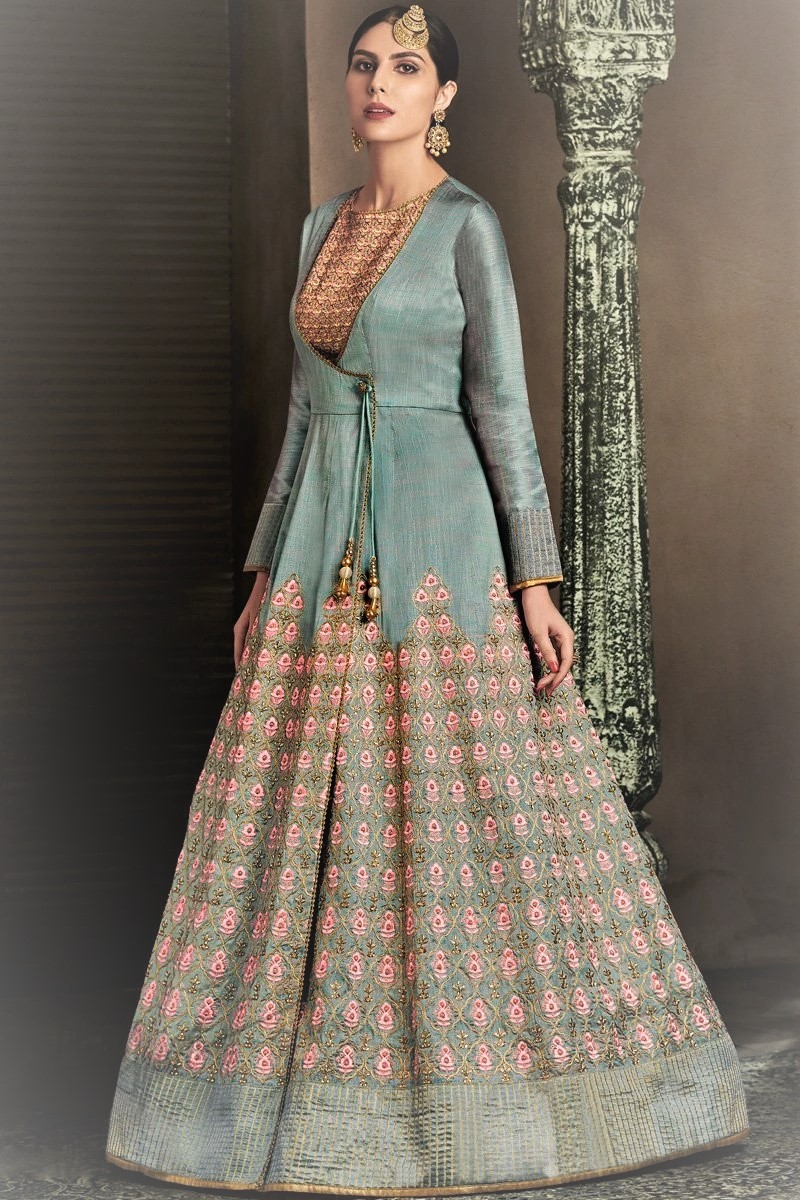 Silk Angrakha Style Gown