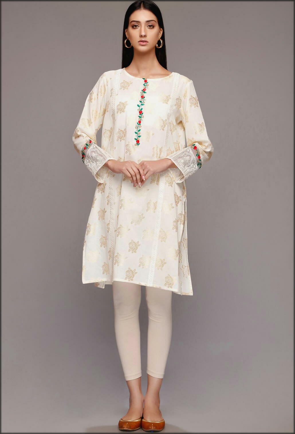 White Jacquard Gold Shirt Rang Ja Summer Collection