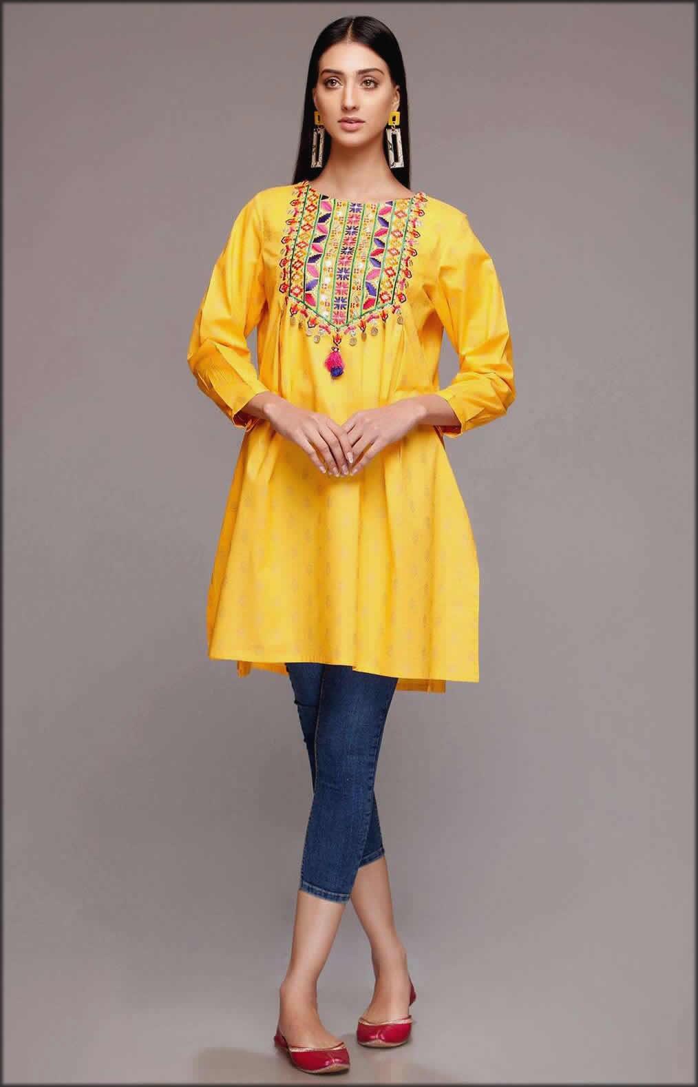 Yellow Printed Cambric Frock Rang Ja Summer Collection