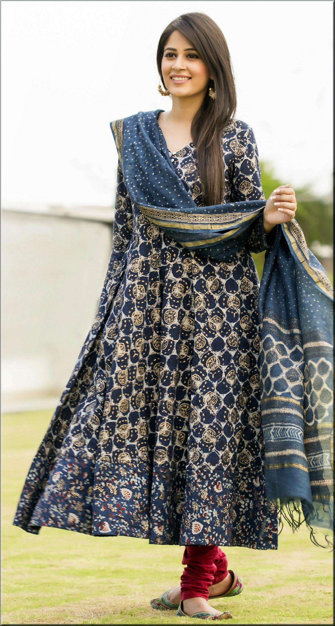casual anarkali frock with payjama