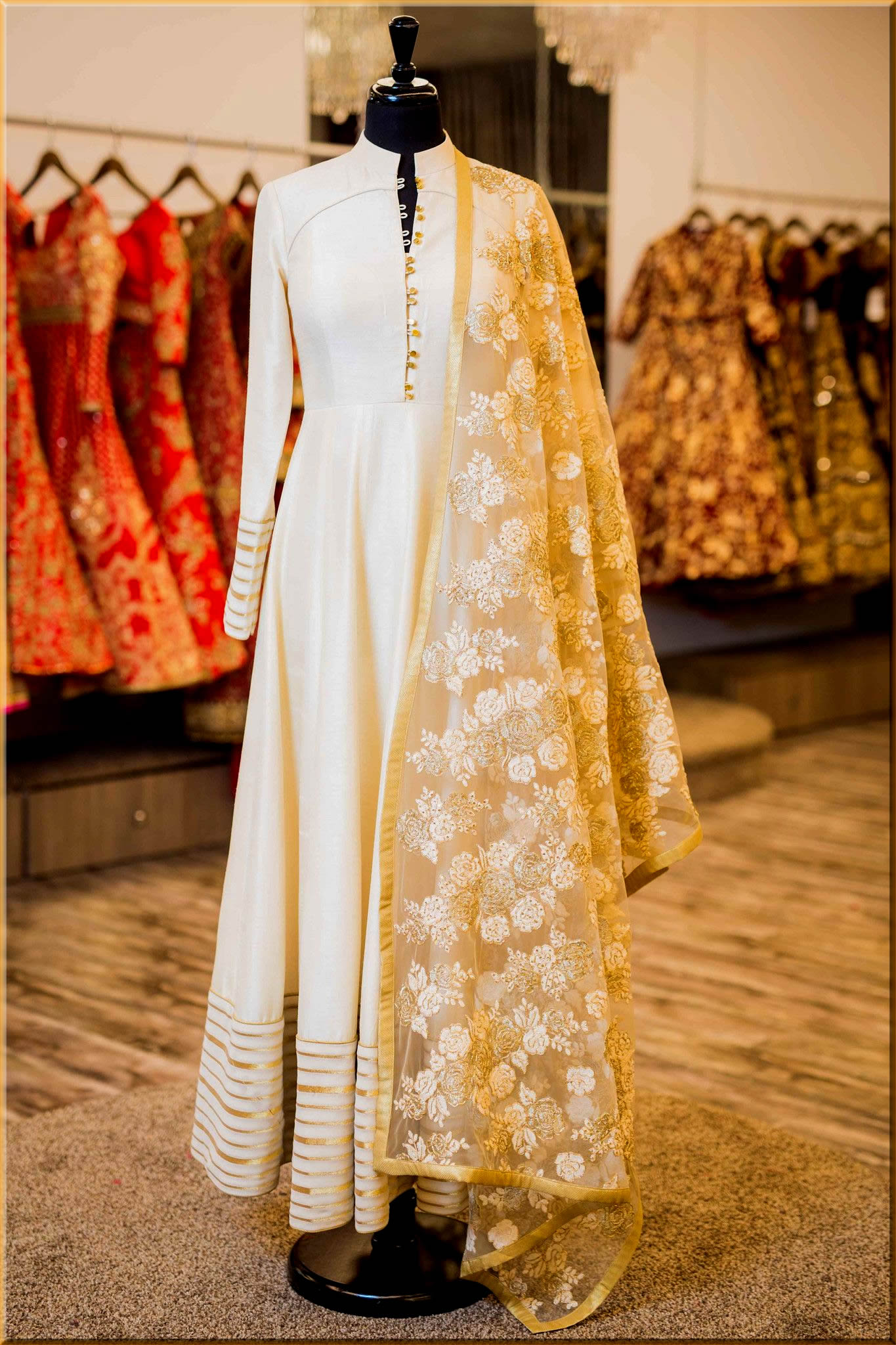 classy white Indian Anarkali Frocks
