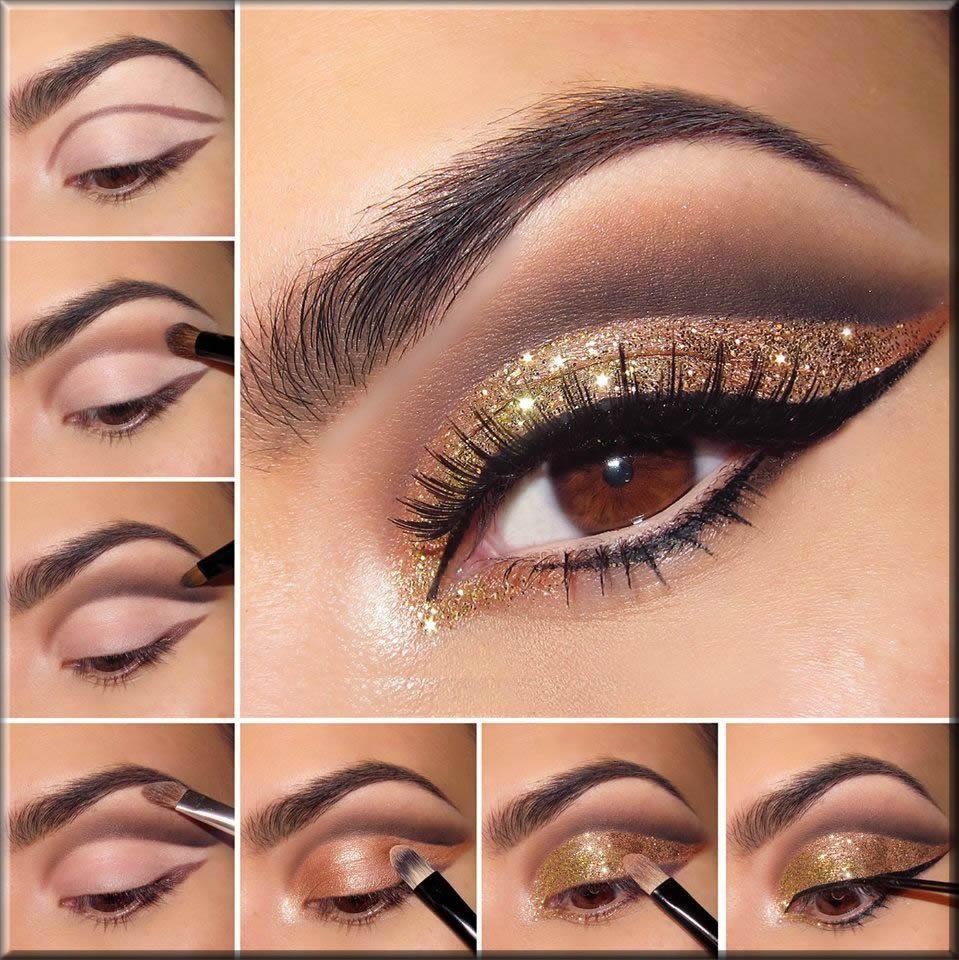 glitters eye makeup step by step