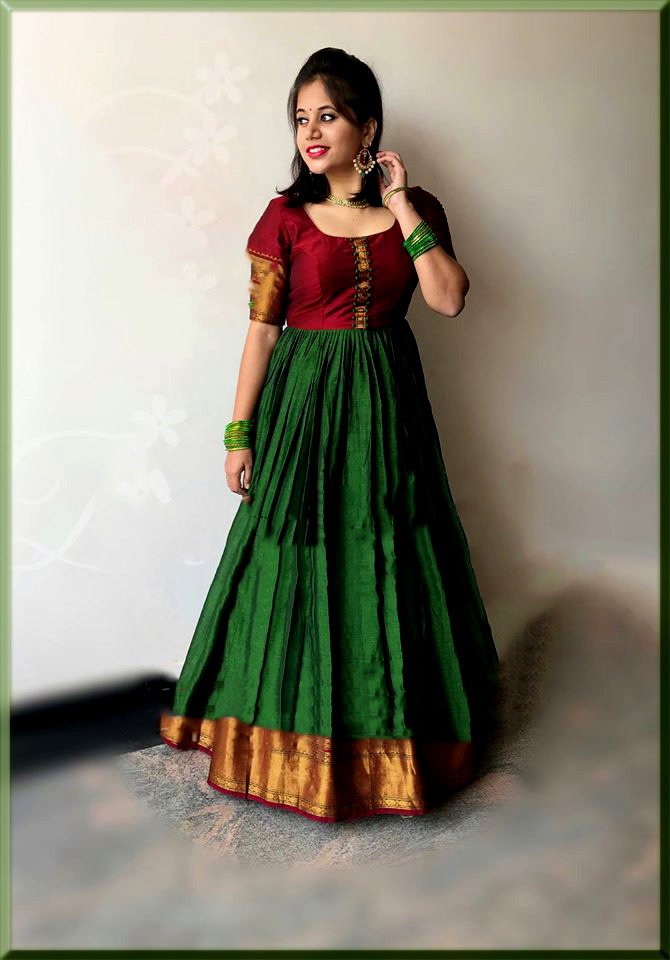 green and maroon anarkali frock