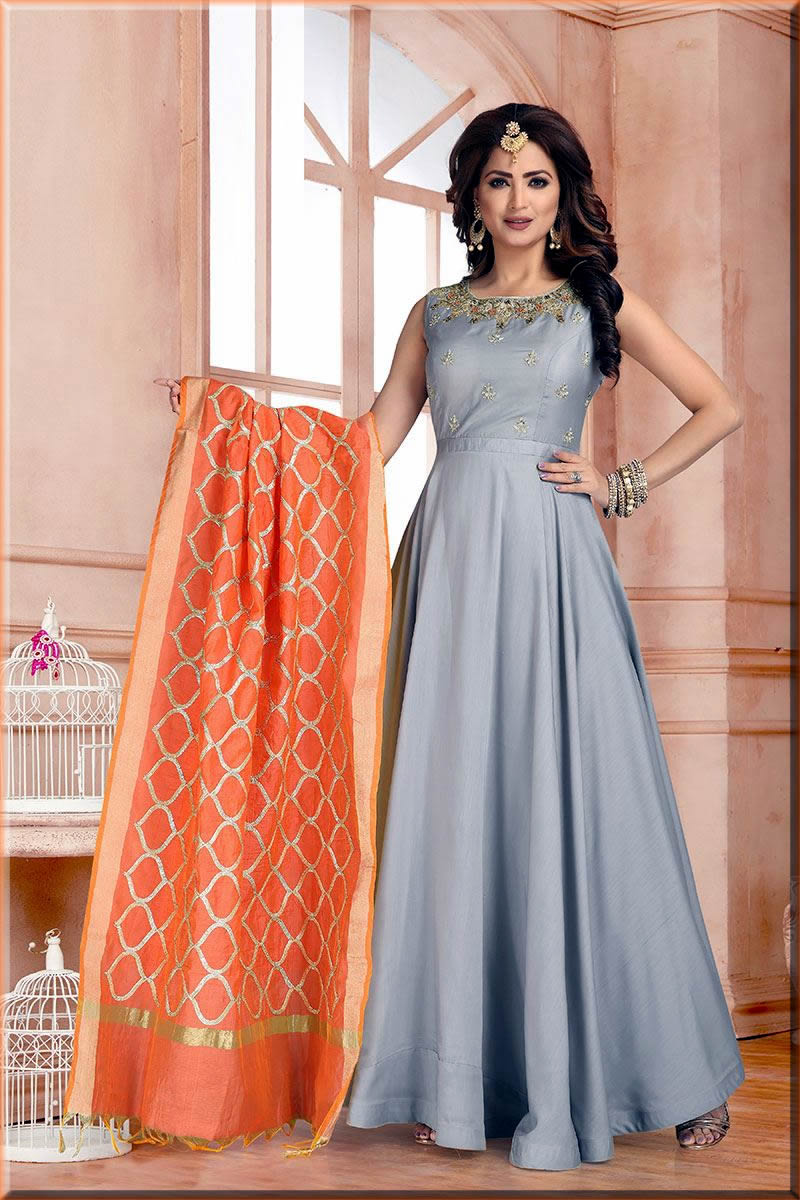 grey Indian Anarkali Frocks for ladies