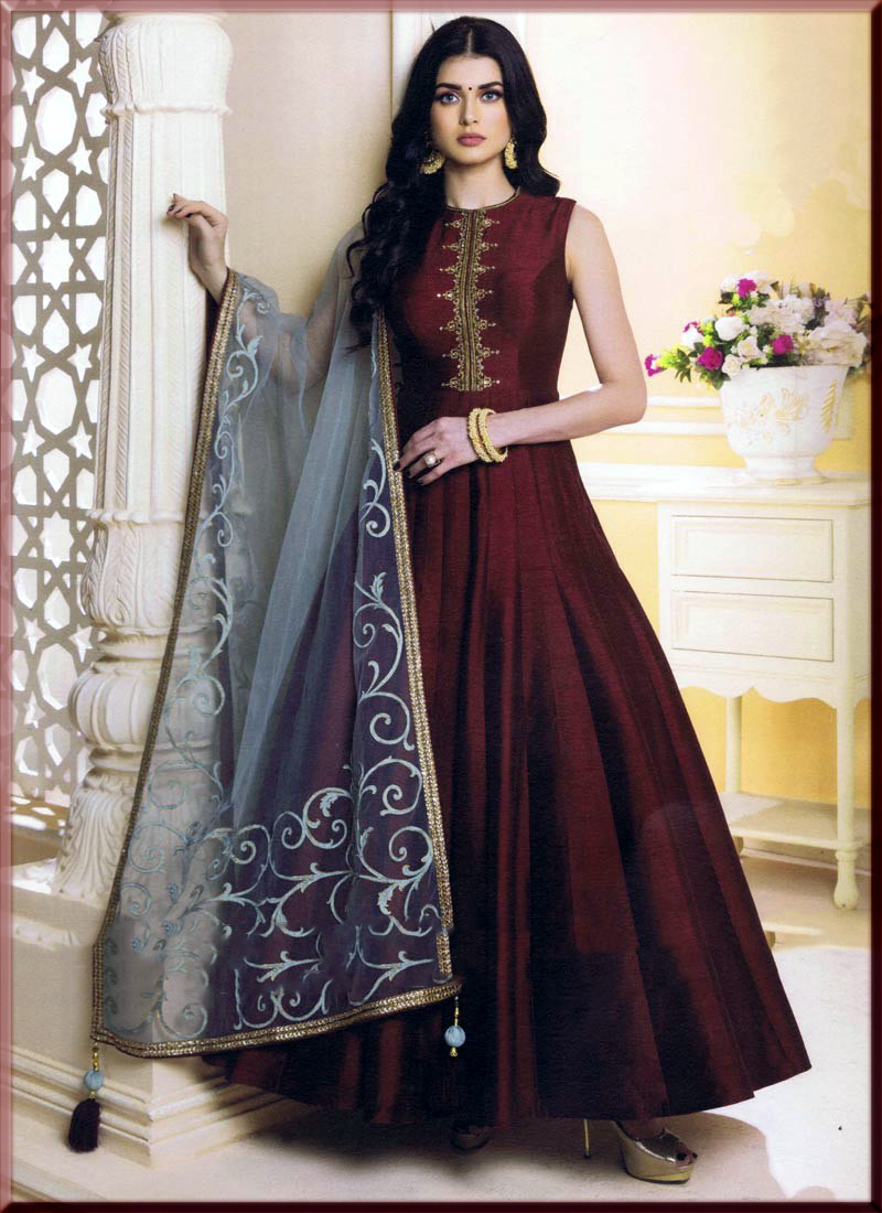 marron silk anarkali suit for youngest