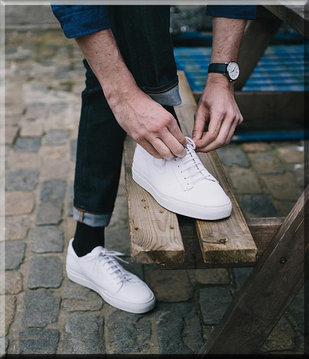 minimal white sneakers for men