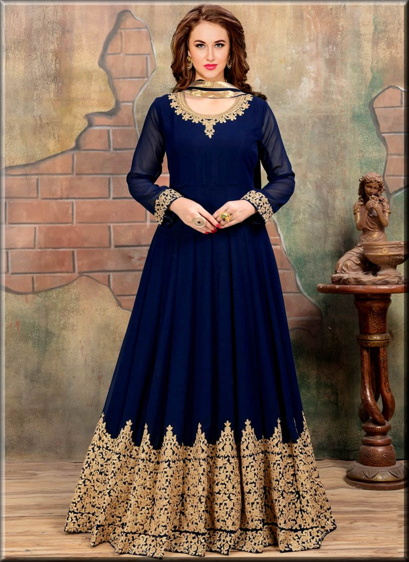 navy blue Indian Anarkali Frocks collection