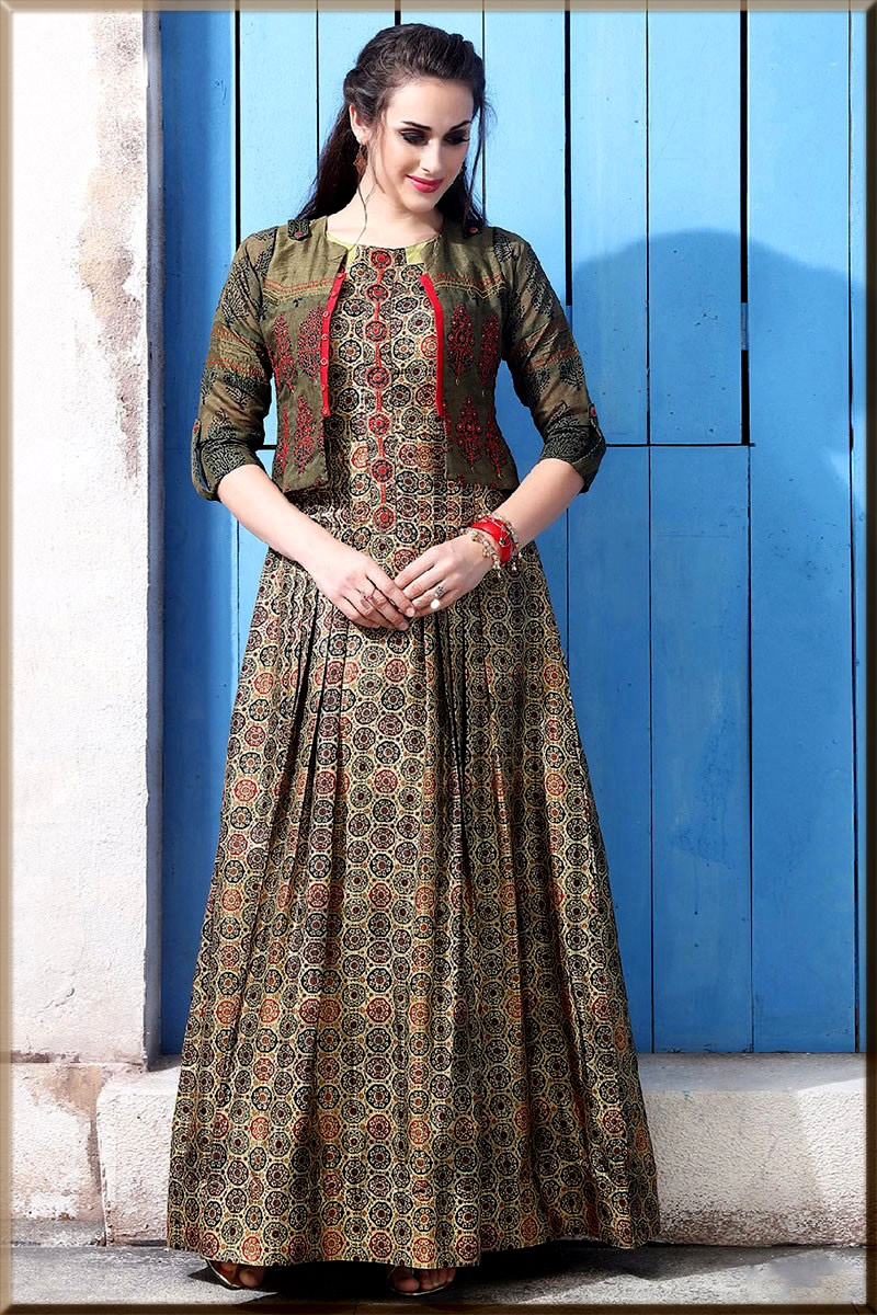 printed anarkali gowns for girls