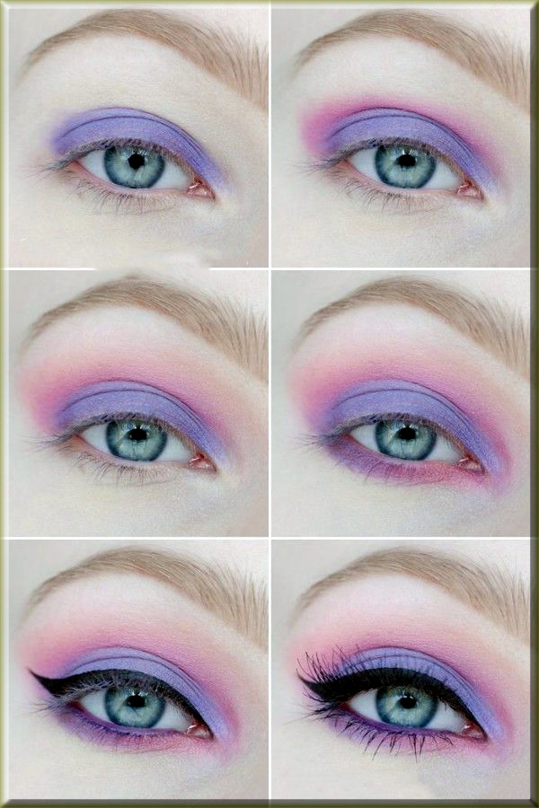 purple and pink eye makeup for the girls