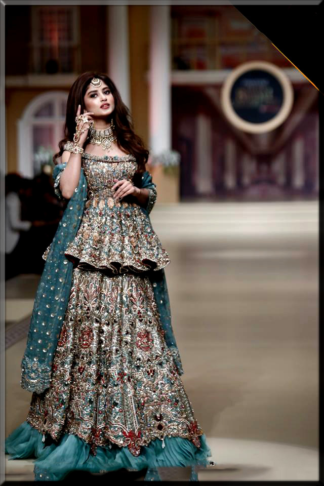 short anarkali frock with bridal lehenga