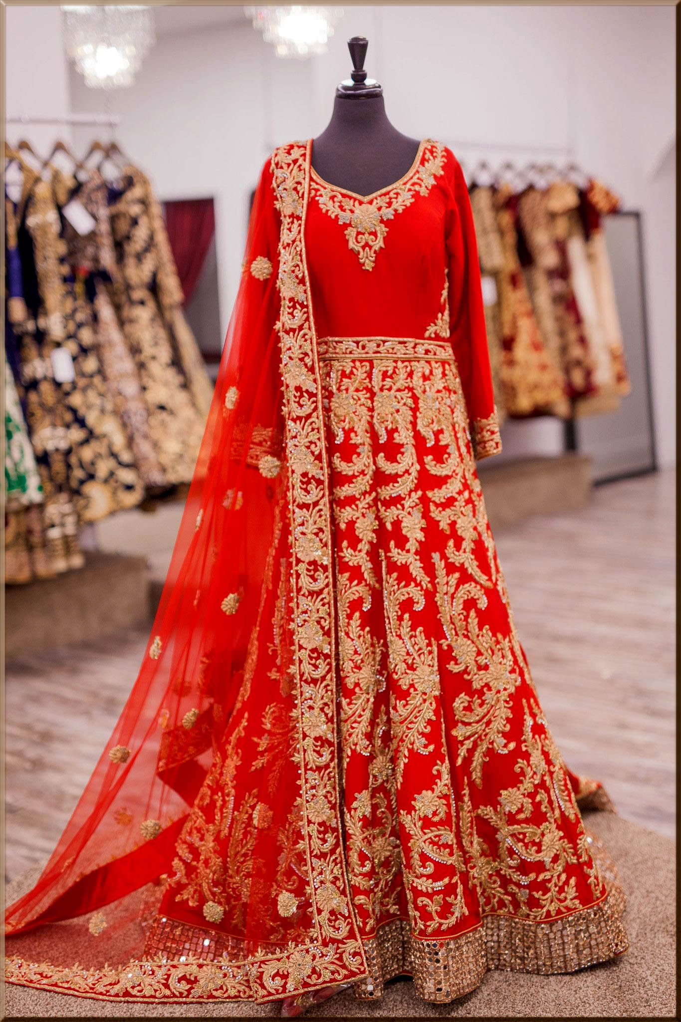 tradional red anarkali frocks for bride