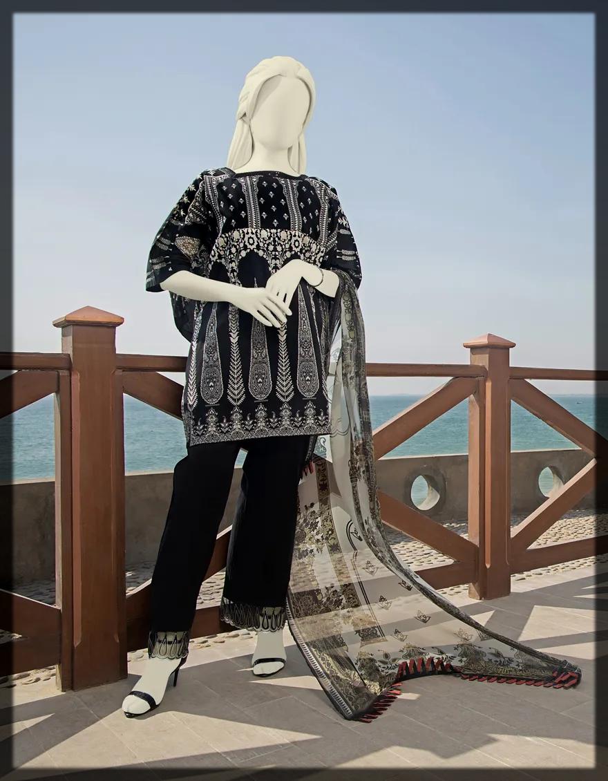 3 Piece Unstitched Black Suit
