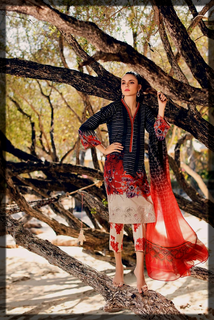 3PC Unstitched Embroidered Lawn Suit With Chiffon Dupatta
