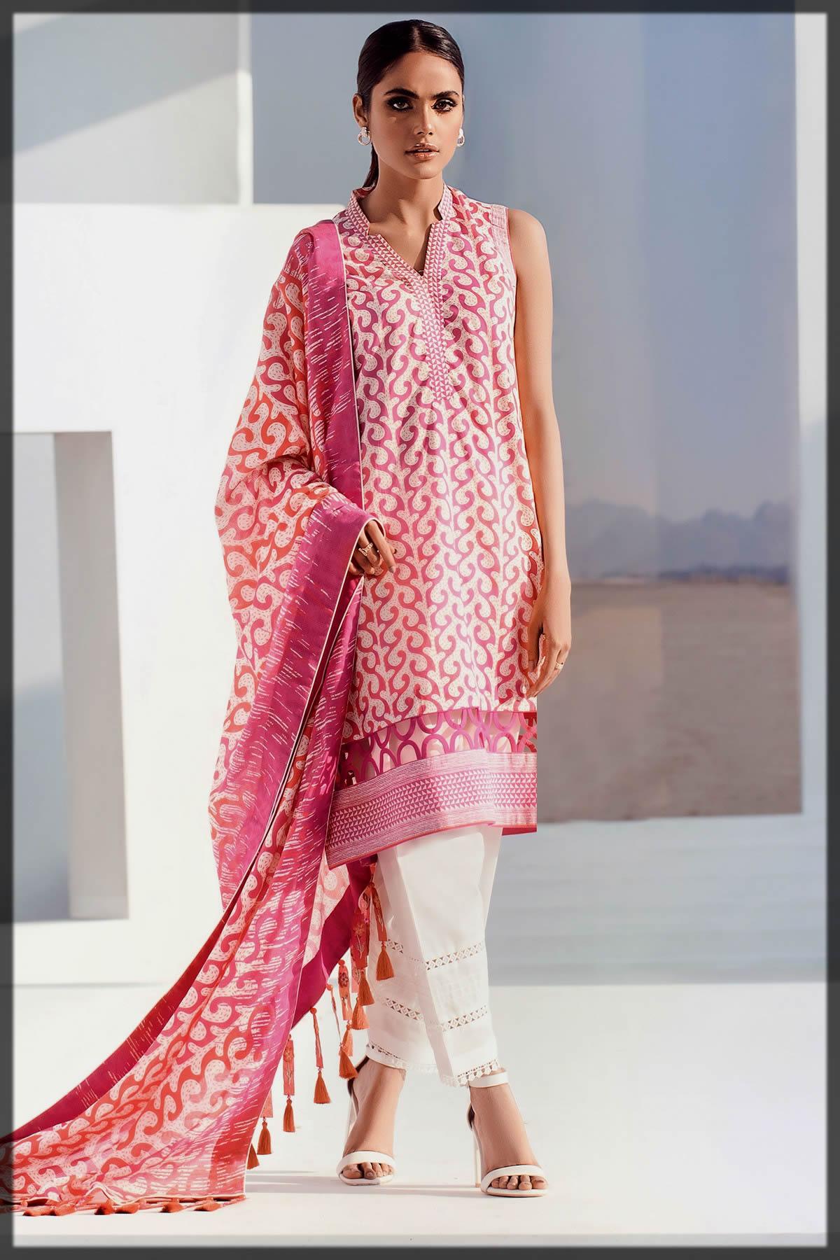 Alkaram Studio Summer dress with jacquard duppata