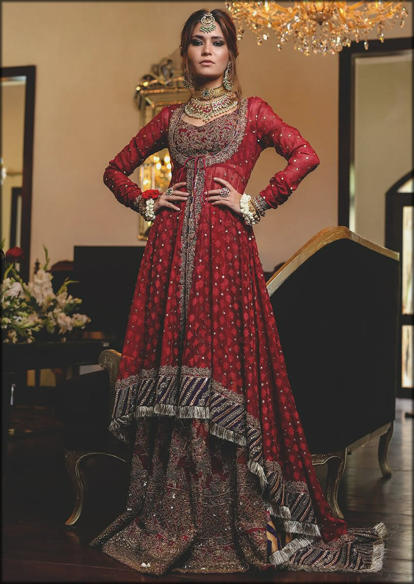 Angrakha Style Red Shirt And Gharara