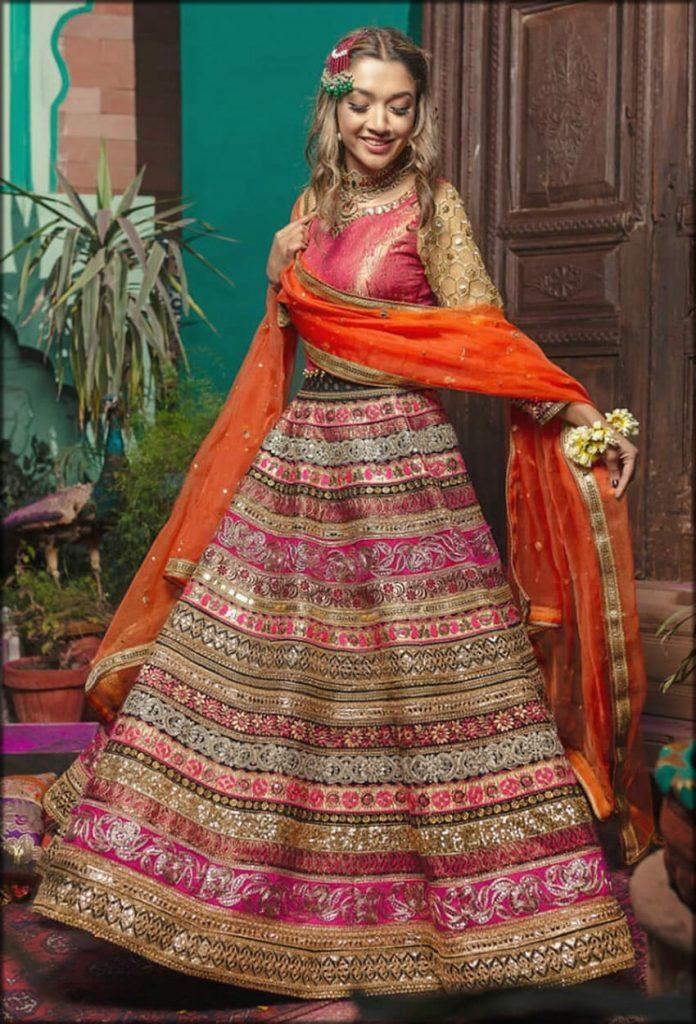 Aswad Pink Jamawar Lehenga Choli Zahra Ahmad Bridal Collection