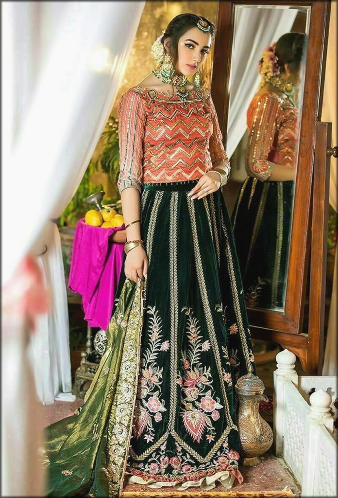 Best Bridal Dress In Green And Pink Color Zahra Ahmad Bridal Collection