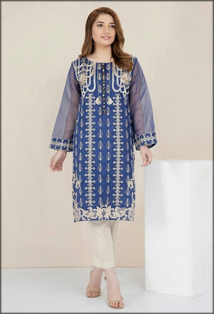 Blue Formal Embroidered Shirt with Inner
