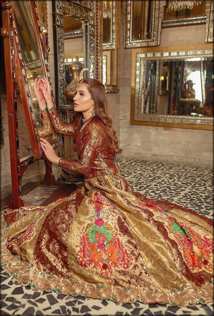 Brown And Golden Jamawar Zahra Ahmad Bridal Collection