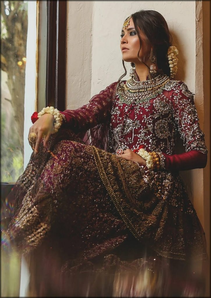 Burgundy Bridal Organza Sharara And Jacket