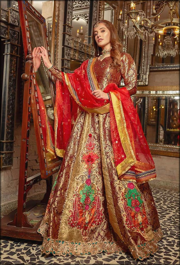 Champa Kali Brown And Golden Bridal Wear