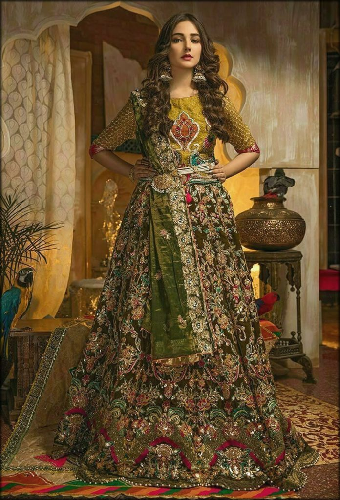 Dhani Parrot Green Top And Lehenga Zahra Ahmad Bridal Collection