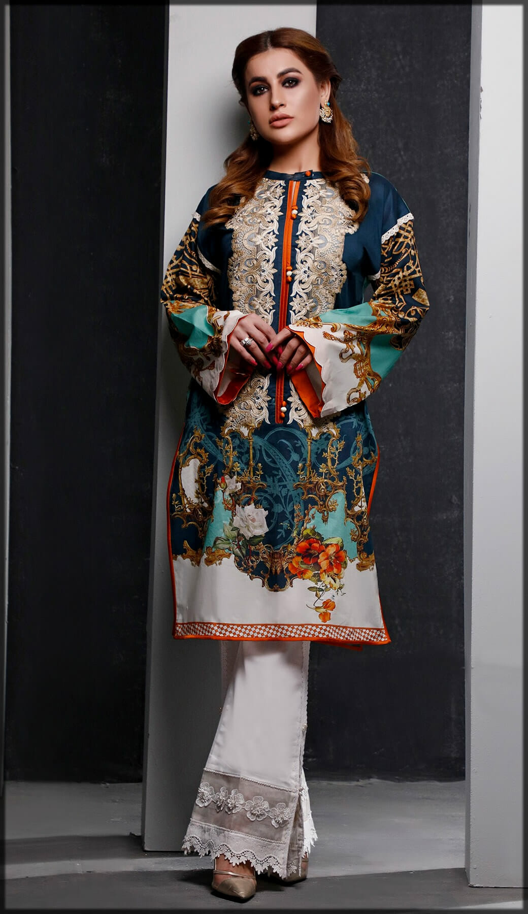 Digital Printed embroidered Lawn Shirt