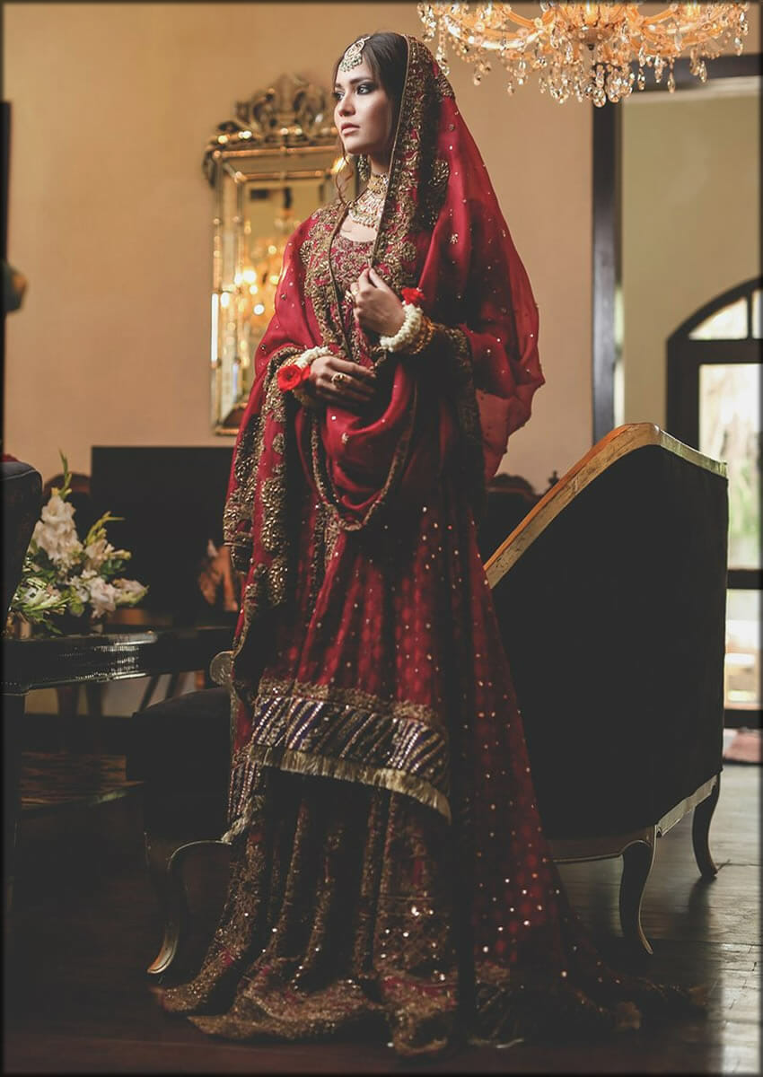 Elegant Red Bridal Gharara Shirt