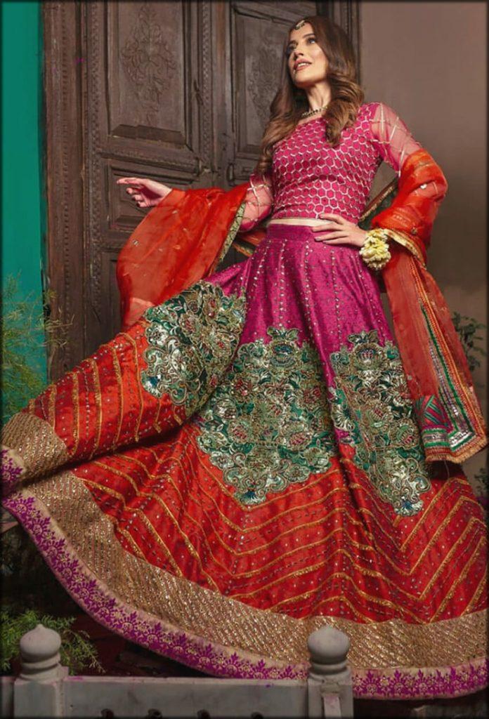 Elif Kaasni Raw Silk Orange Embossed Zahra Ahmad Bridal Collection