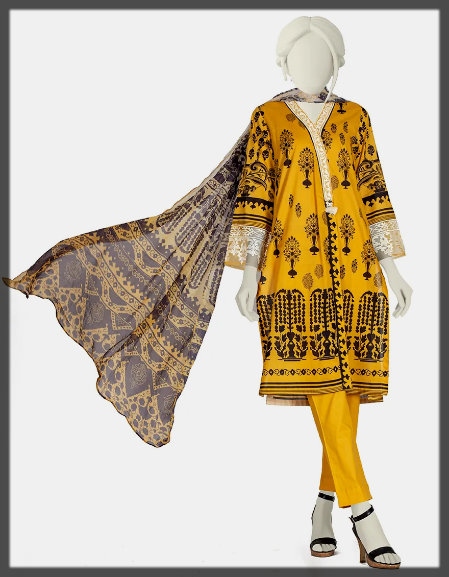 Embroidered 3PC Black Printed Stitched Suit