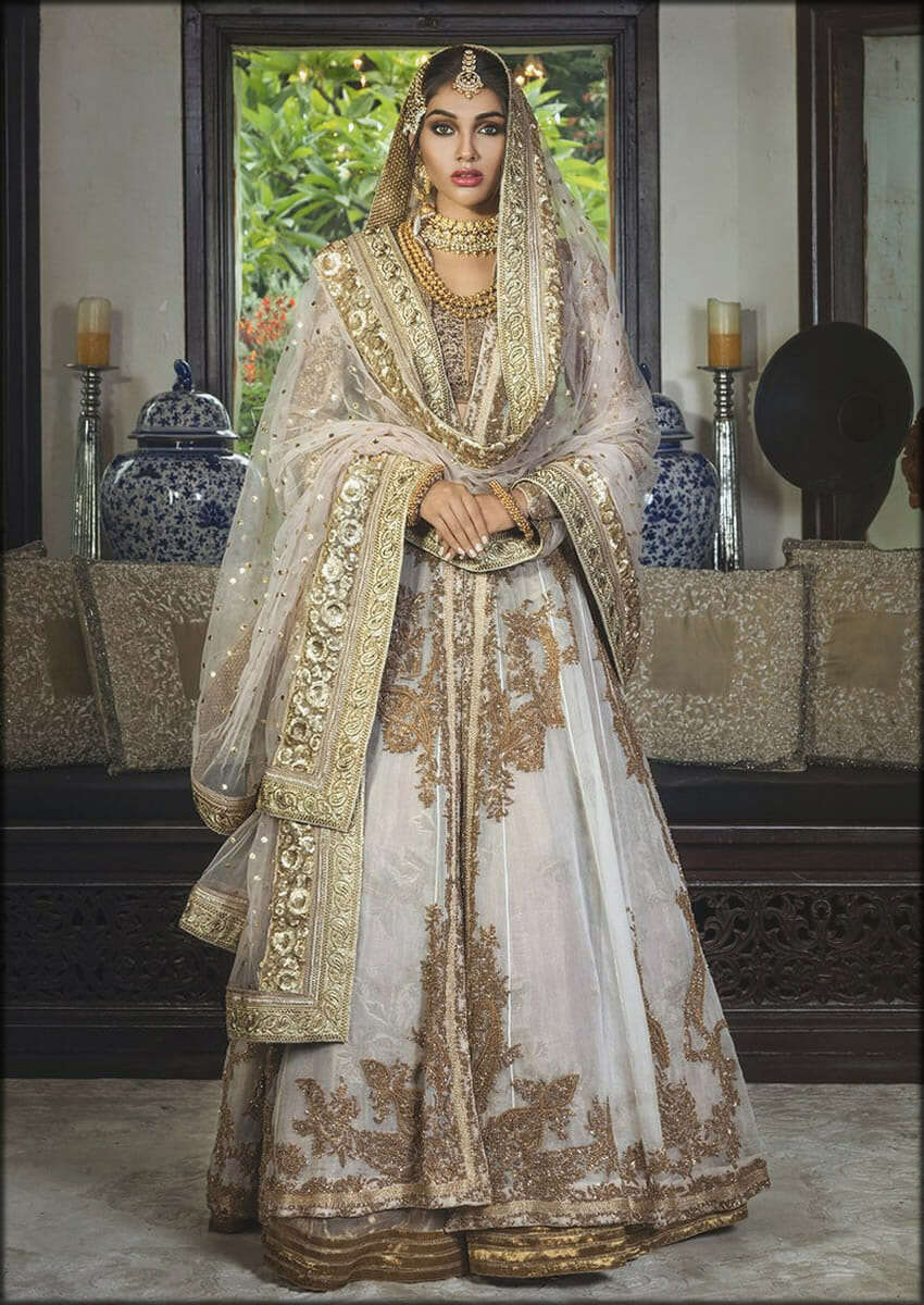 Floor Length Organza Embroidered Lehenga