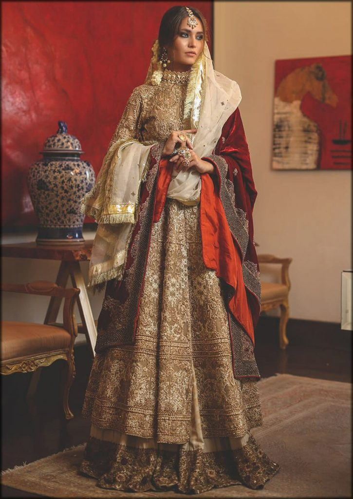 Gold Organza Red HSY Bridal Dresses Collection