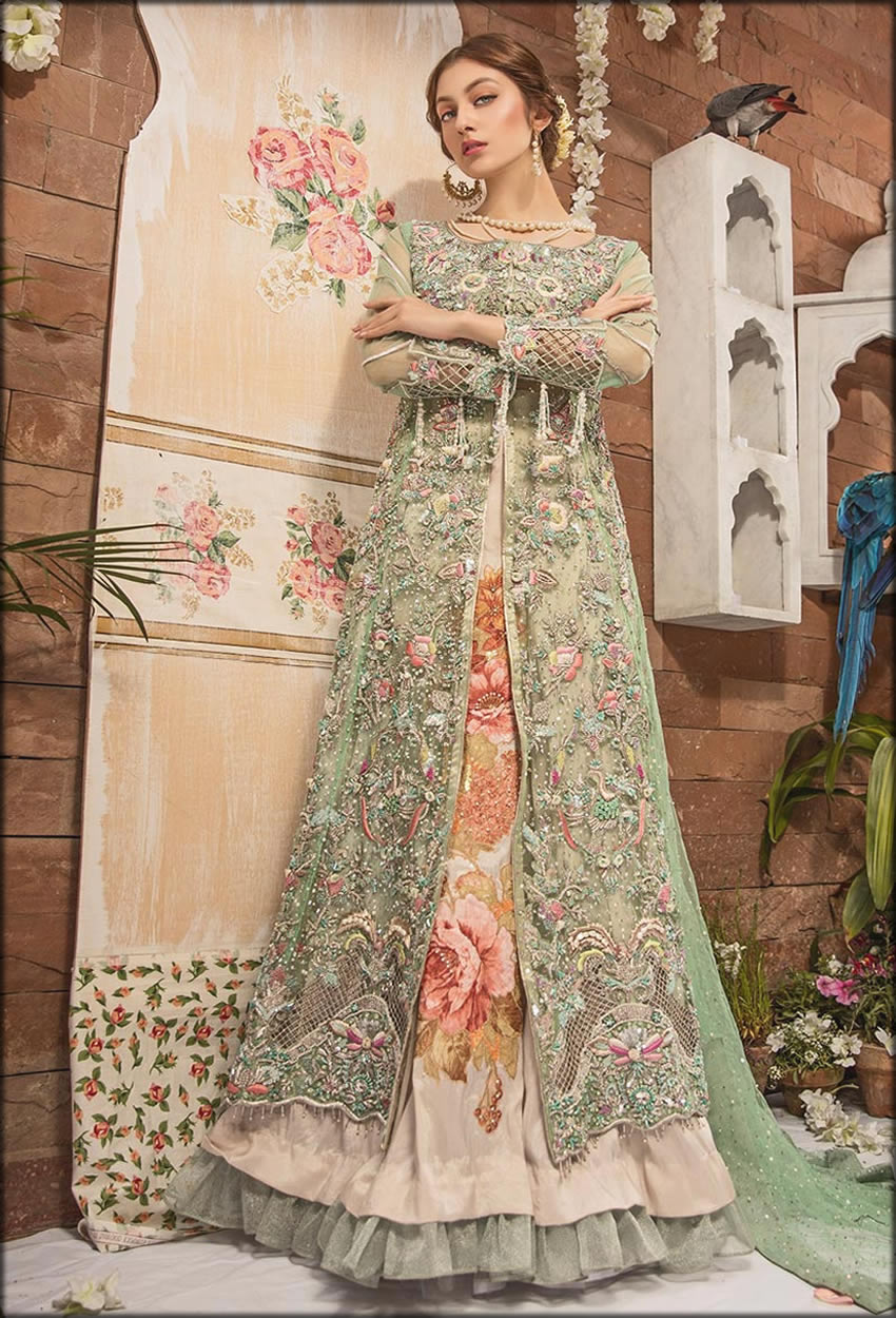 Green Fully Embellished Net Gown