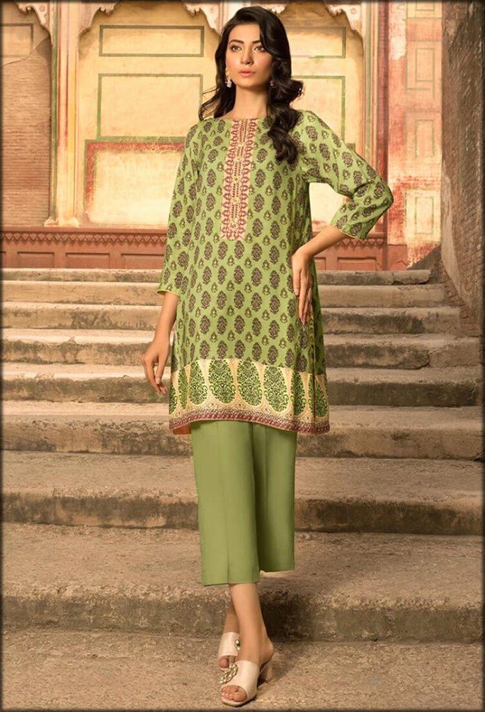 Green Single Shirt With Linen Print